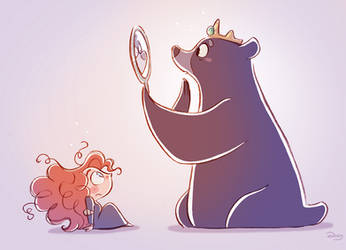 Chibis Merida and Mum Bear from Pixar's Brave by princekido