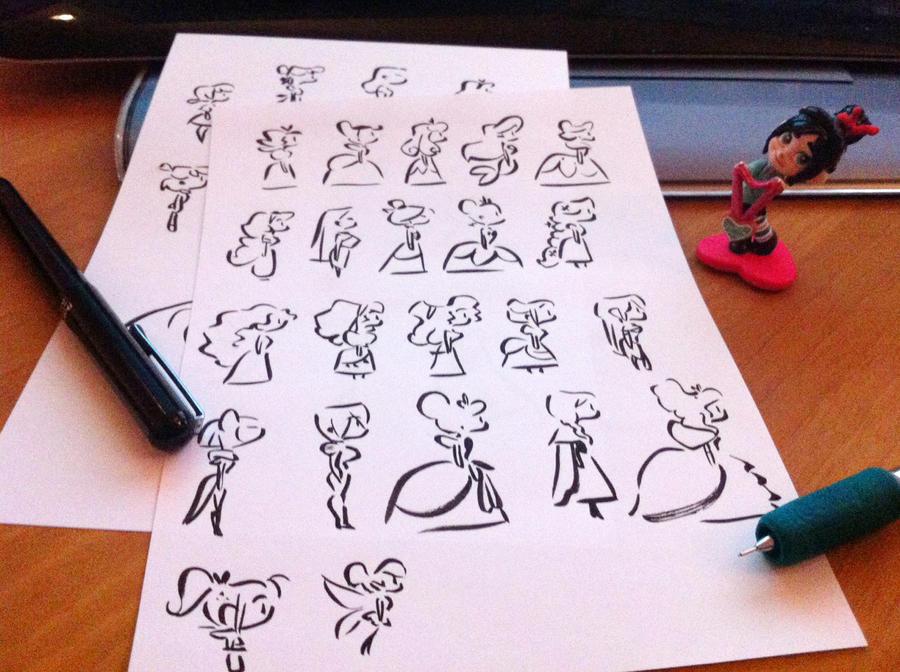 Disney Heroines Simple Lines Original by princekido