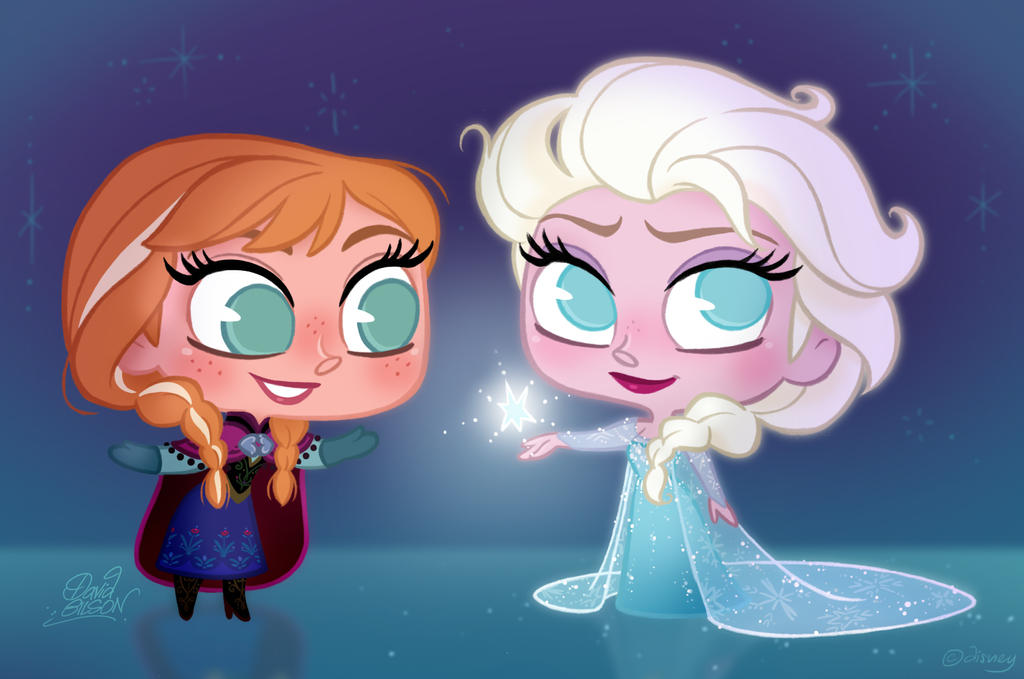 Chibies of Anna and Elsa in Disney's Frozen by princekido