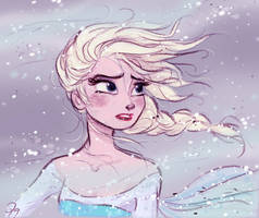 Disney's Frozen Elsa in the blizzard by princekido