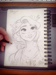 Quick Disney's Rapunzel sketch by princekido