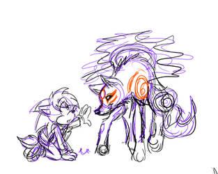 WIP doodle Jonathan and Ammy Okami by jayfoxfire