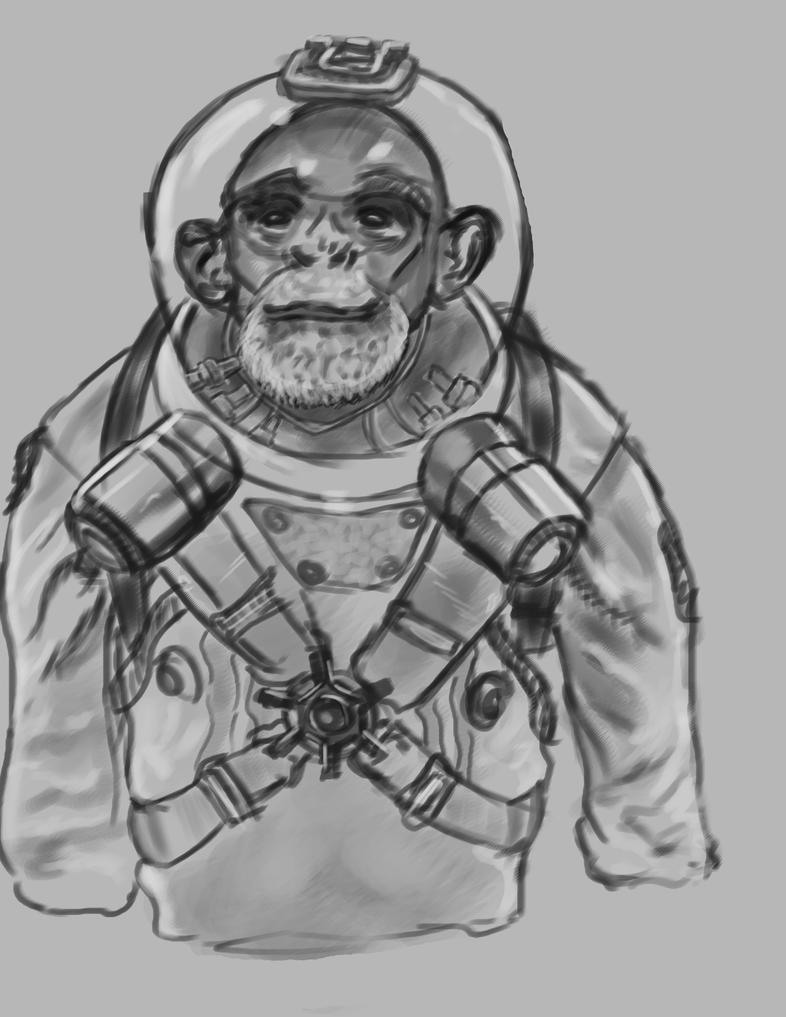 Astronaut monkey photostudy by BannedFiveToOne