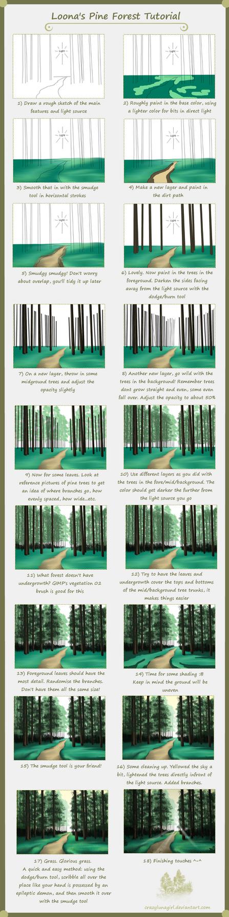 Pine Forest Tutorial by crazylunagirl