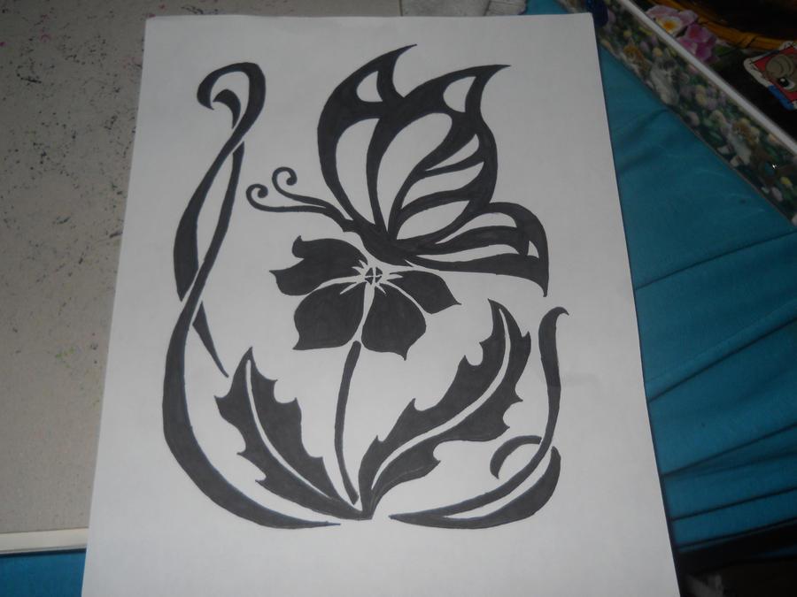 Butterfly on a flower sharpie art 1 by hellokittygirl11 for Cool drawings of butterflies