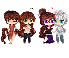 Chibi commissions by Purrinee
