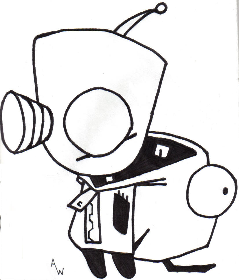 Art Zim Disguise Pointing Coloring Page - Free Invader Zim ... | 968x826