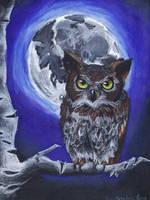 Owl in the Moonlight by Lightninglizard