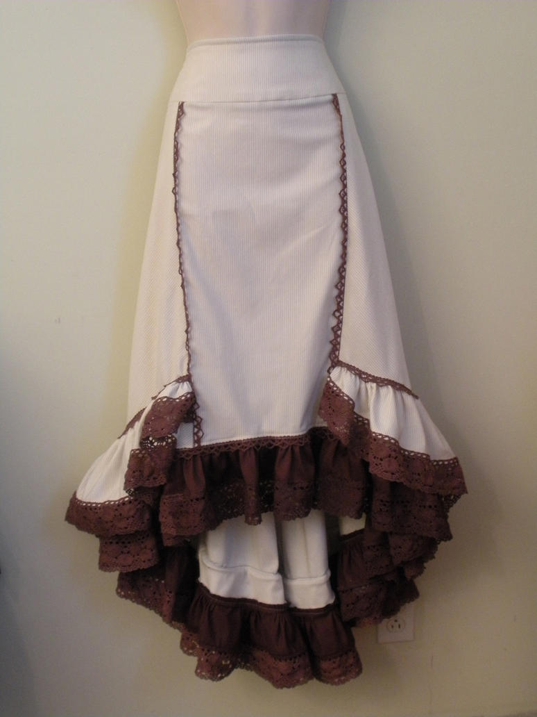 Chocolate Lace Ruffle Skirt by FenigDurak