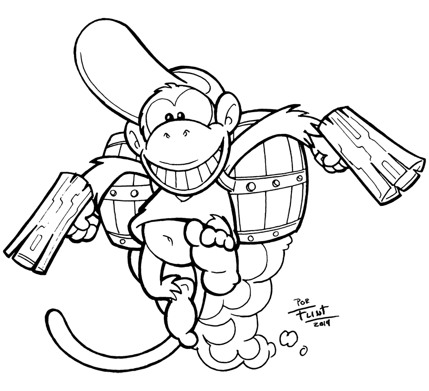 Watch movement coloring pages for Diddy kong coloring pages