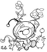 Olimar and pikmin by FlintofMother3