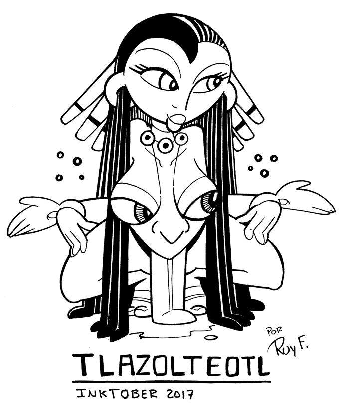 Inktober 19 TLAZOLTEOTL by FlintofMother3