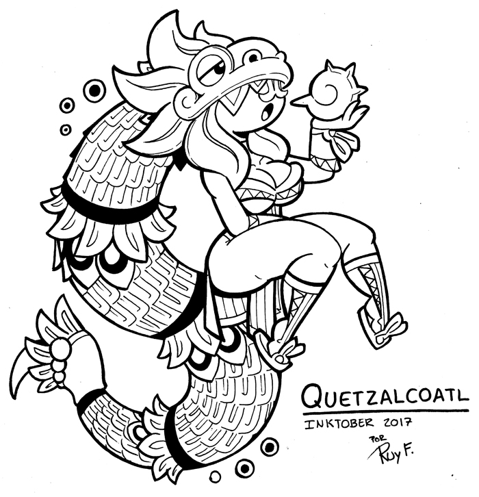 Inktober 23 QUETZALCOATL by FlintofMother3