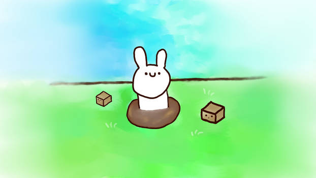a bunny swimming in raw sewage and explosive cubes