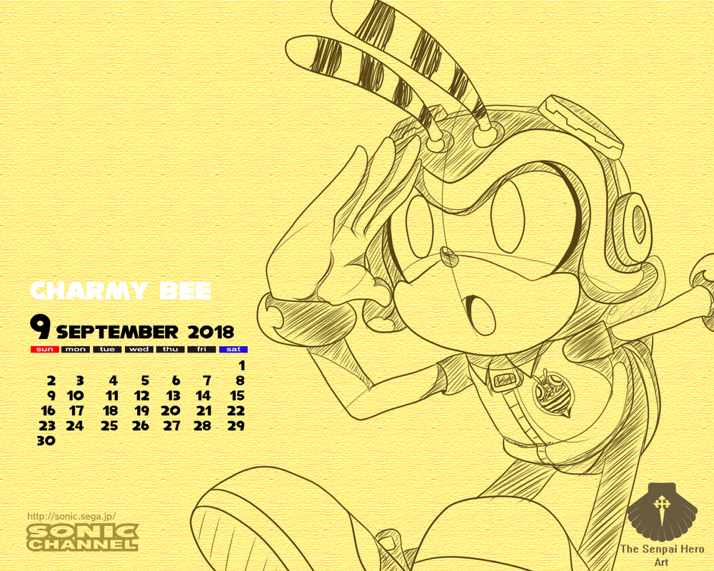 Charmy Bee Calendar_September 2018 by Senpai-Hero