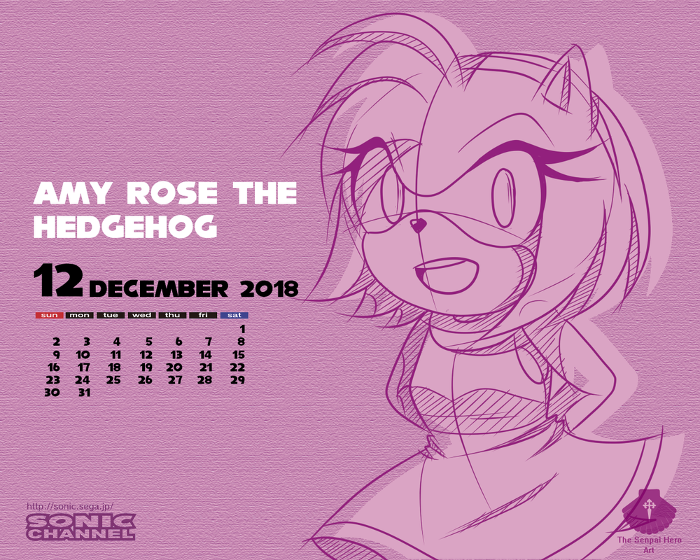 Amy Rose Calendar_December 2018 by Senpai-Hero