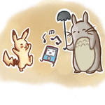 Totoro and Pikachu chilling for Mysteriosity