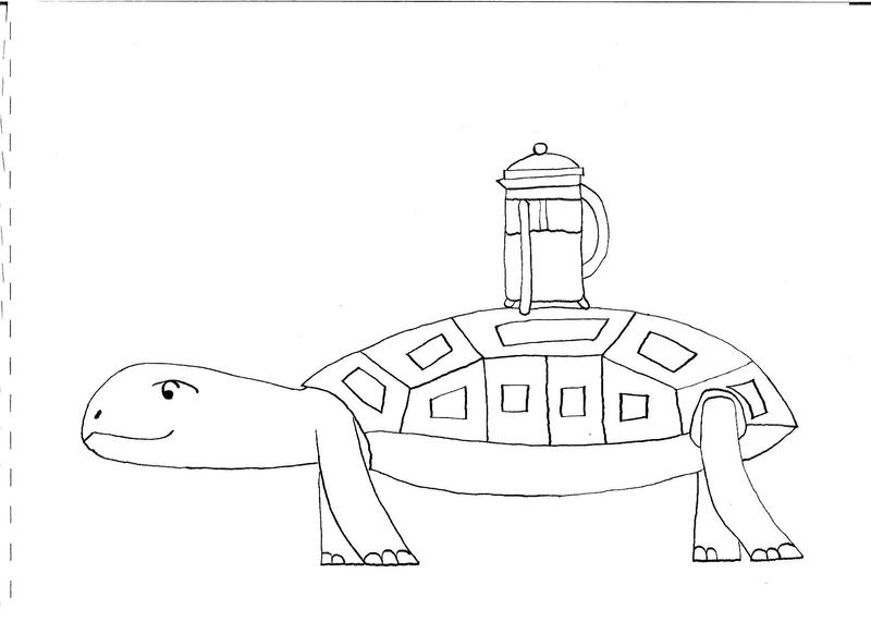Turtle with coffee maker - sketch by dip-C