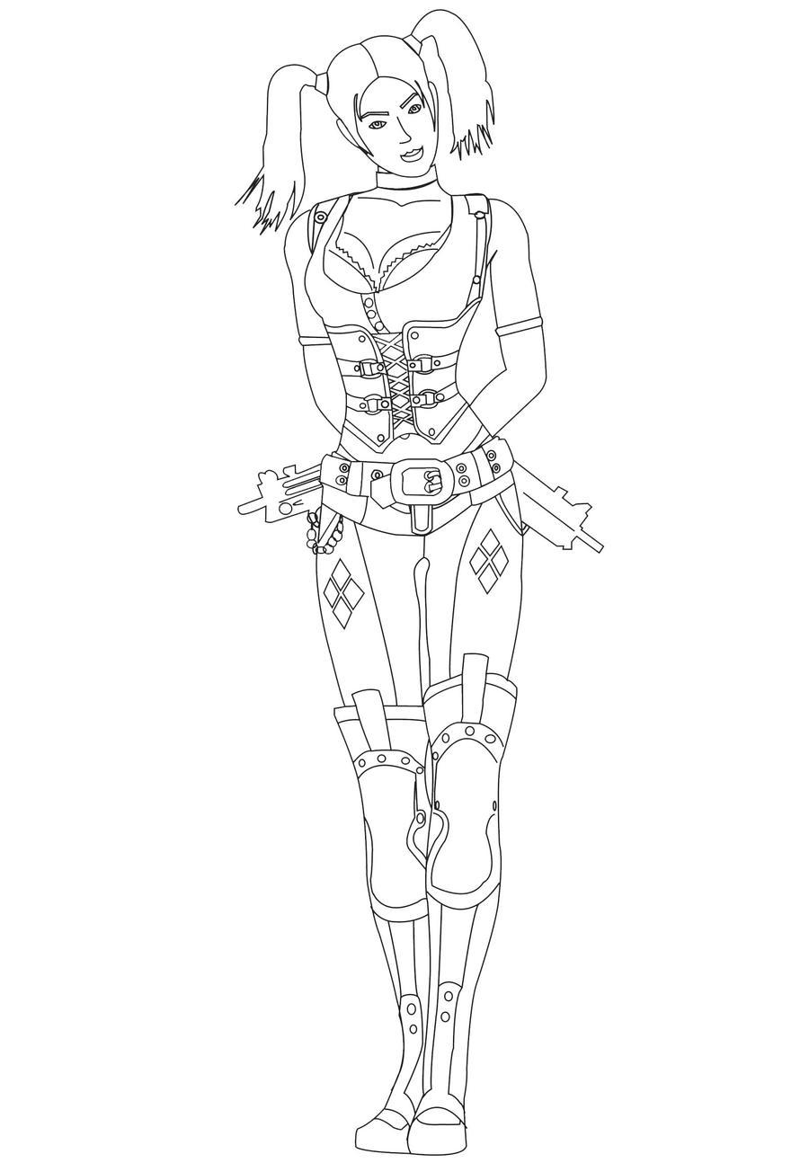 Line Art Harley Quinn : Harley quinn lineart no bg by pointedsai on deviantart