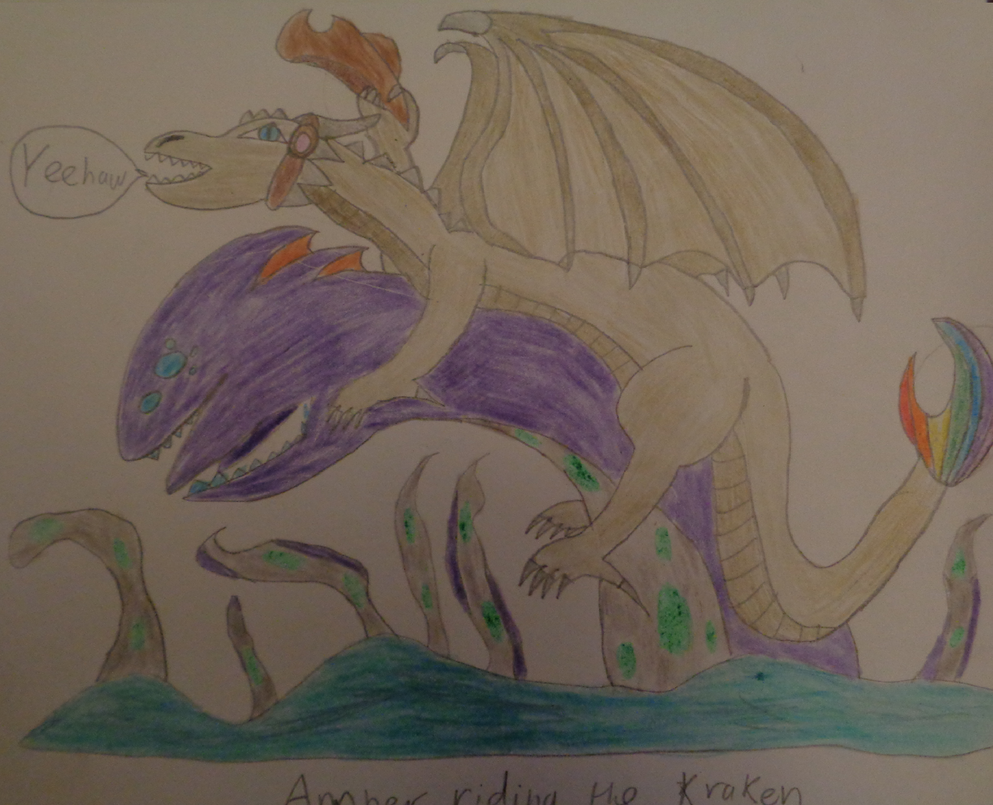 Amber Riding the Kraken by woodywoodwood