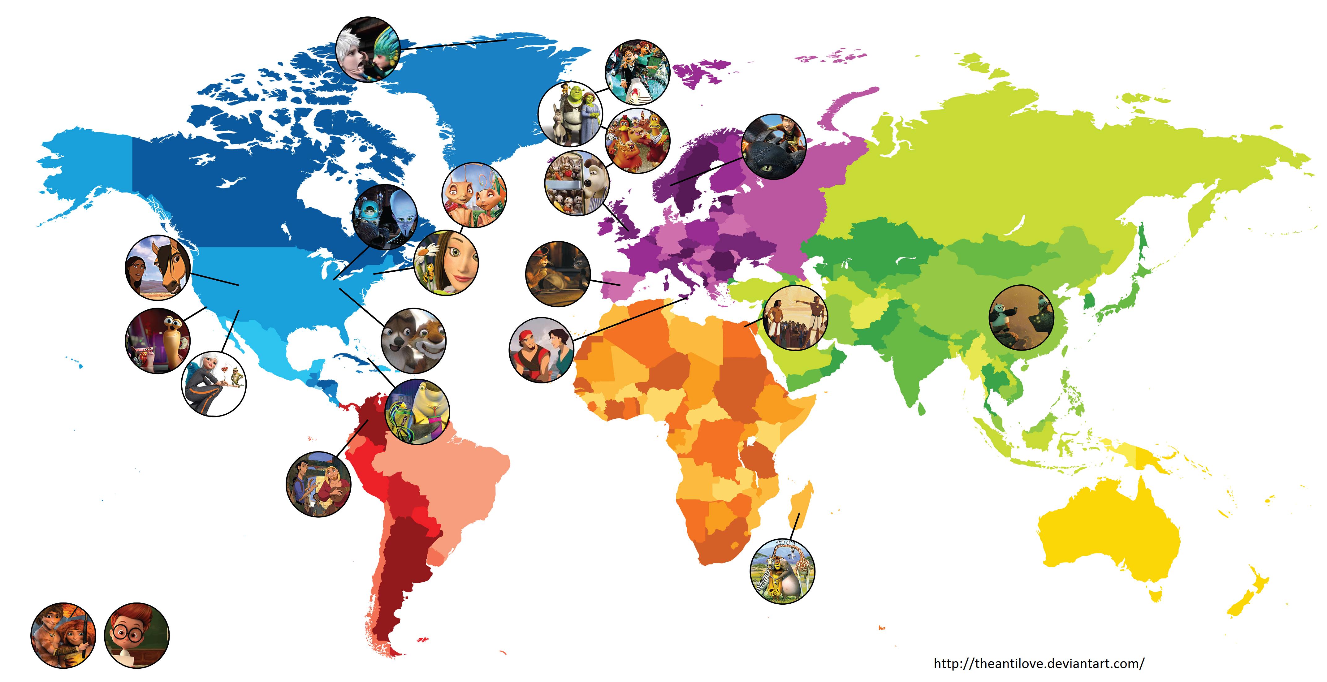 Disney Movie Map World Map 07