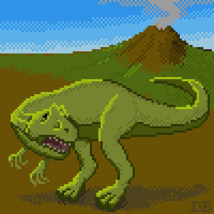 Pixel Art Allosaurus 1000x1000 By Dominicbeaudoin On Deviantart