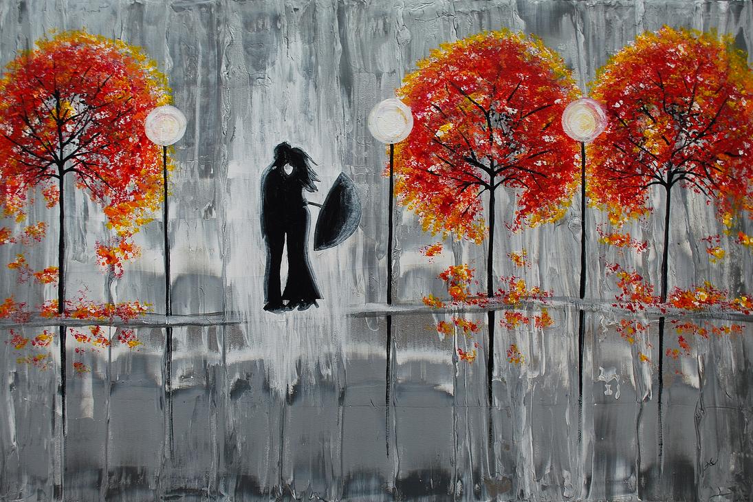 Autumn Rain Romance By AmberElizabethArt