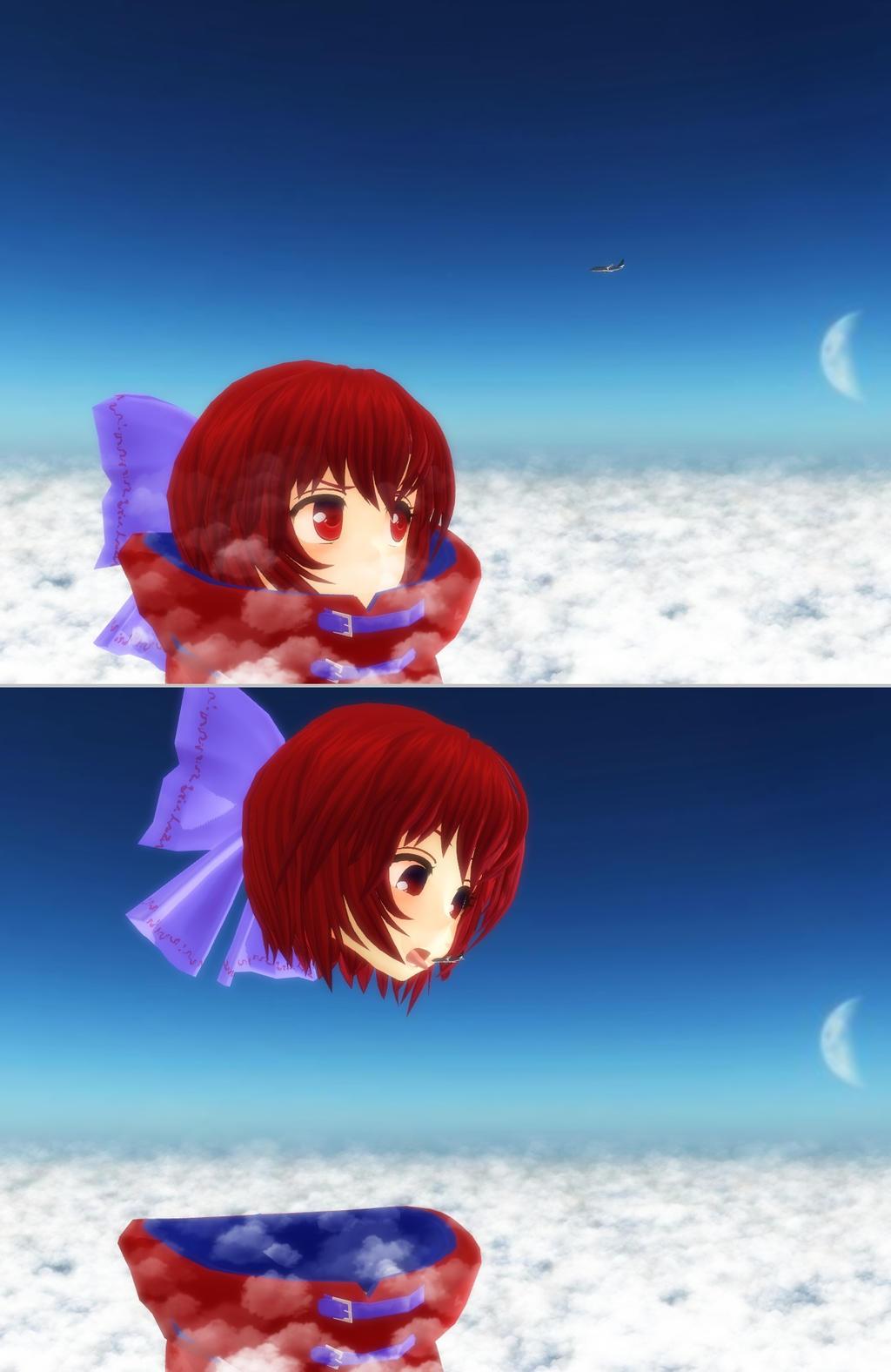 Sekibanki catches the overhead flight by Koirvon