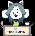 Temmie Art Trades Open Stamp by KiraxHuimang