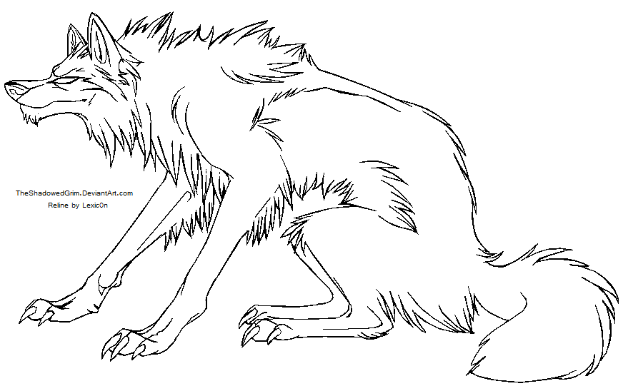 Simple Wolf Lineart : Sitting wolf lineart by lexzic n on deviantart