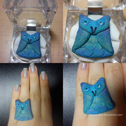 Blue owl ring by karmen1611