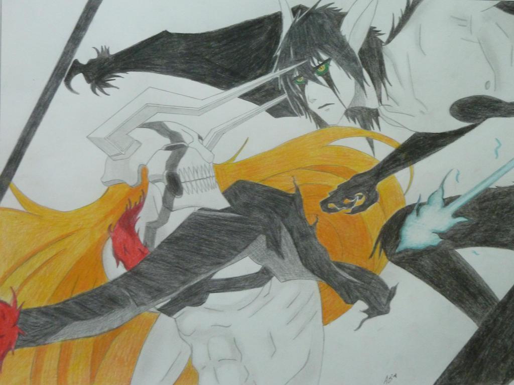 ichigo vs ulquiorra by wolfofshiver on deviantart