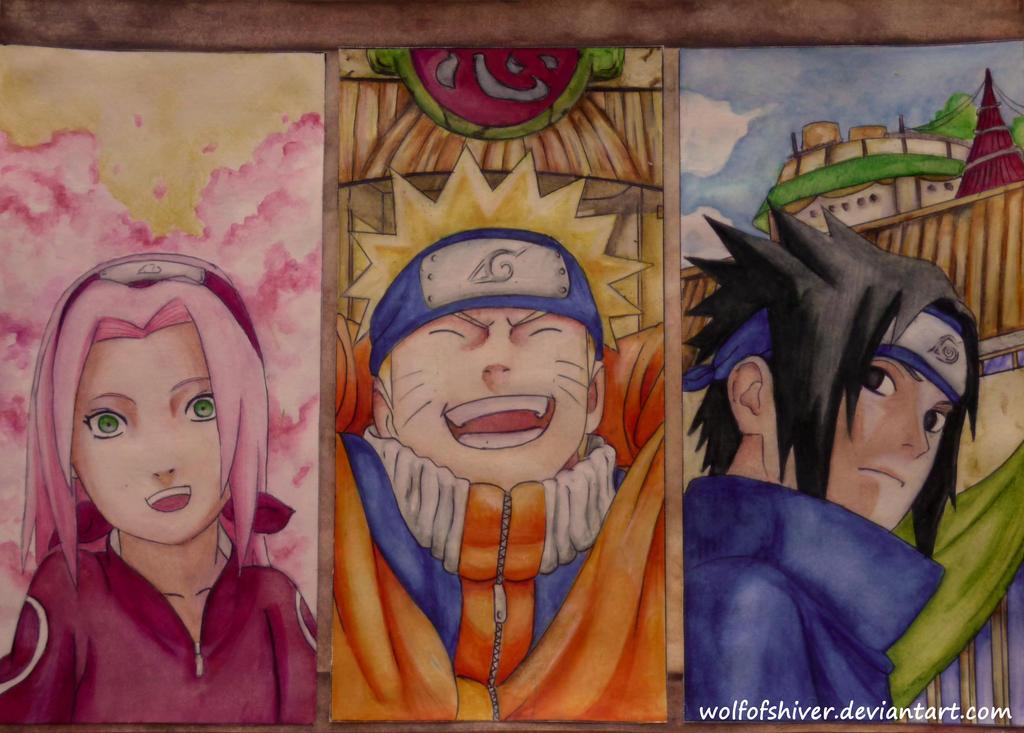 Sakura,Naruto and Sasuke by Wolfofshiver