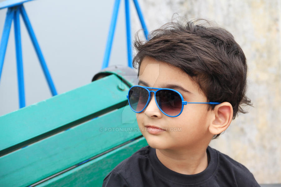 smart indian toddler boy with sunglasses by fotonium on