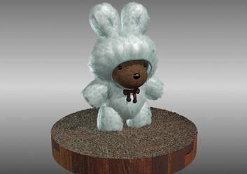Kawaii Dog in Bunny Costume Stuffed Animal by EmberRabbit