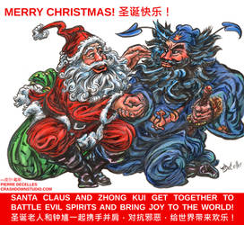 Santa Claus and Zhong Kui by PierreDeCelles