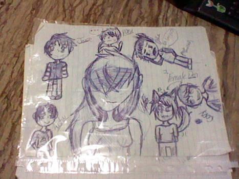 random girl and serks pen doodle