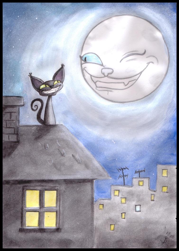 le chat et la lune by schwarzdrossel