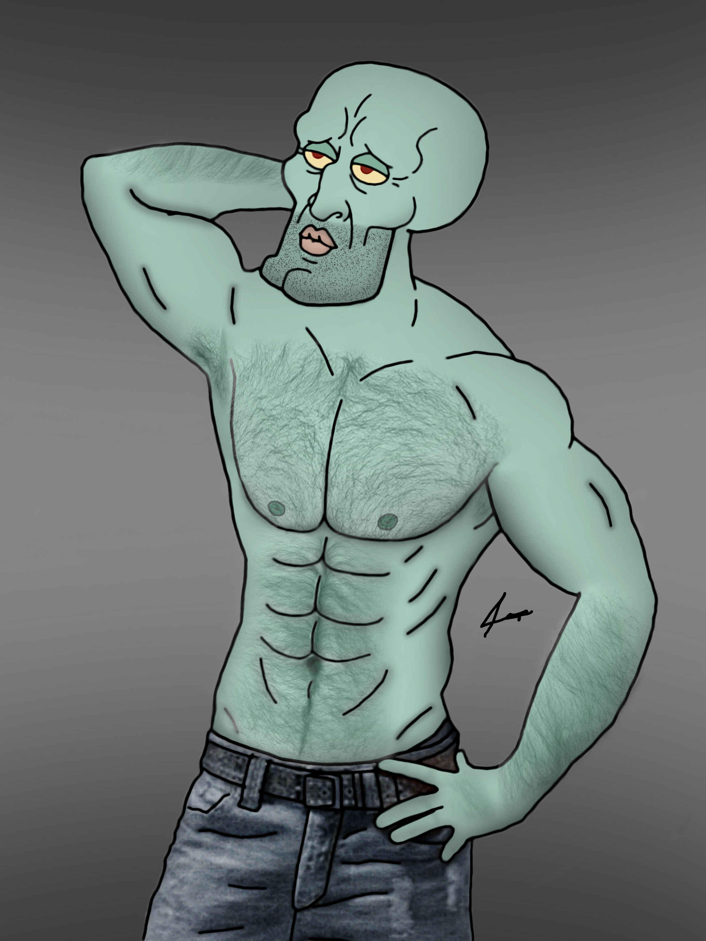 handsome squidward by adigitalproduction on deviantart