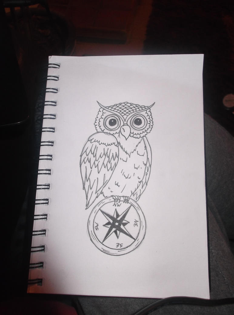 Owl compass tattoos