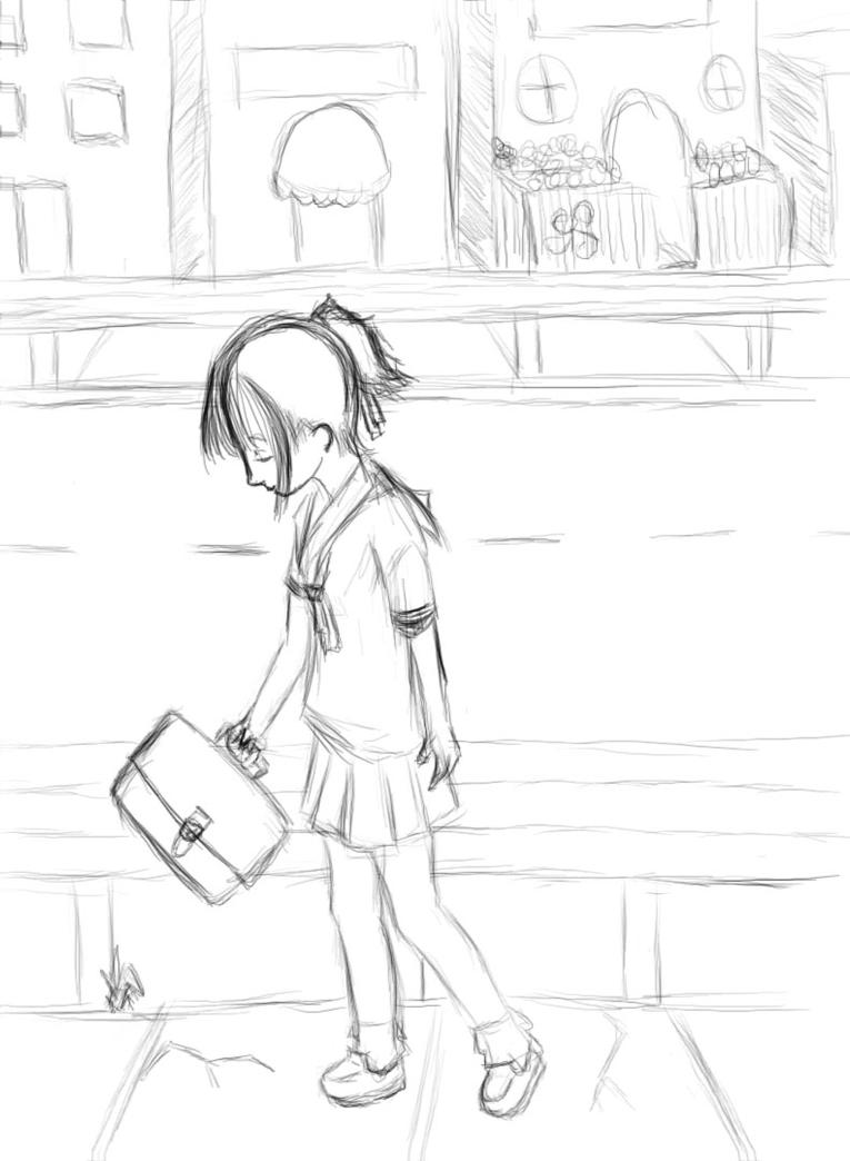 how to draw a girl walking