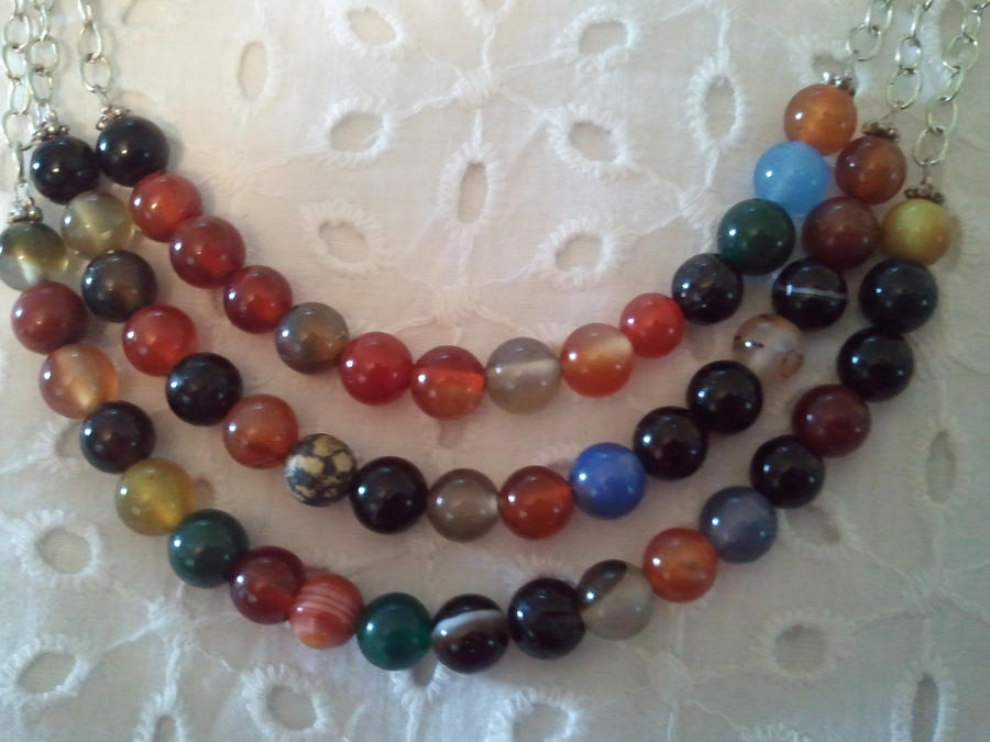 Semi Precious Beads and Sterling Silver Necklace by NormasCreations