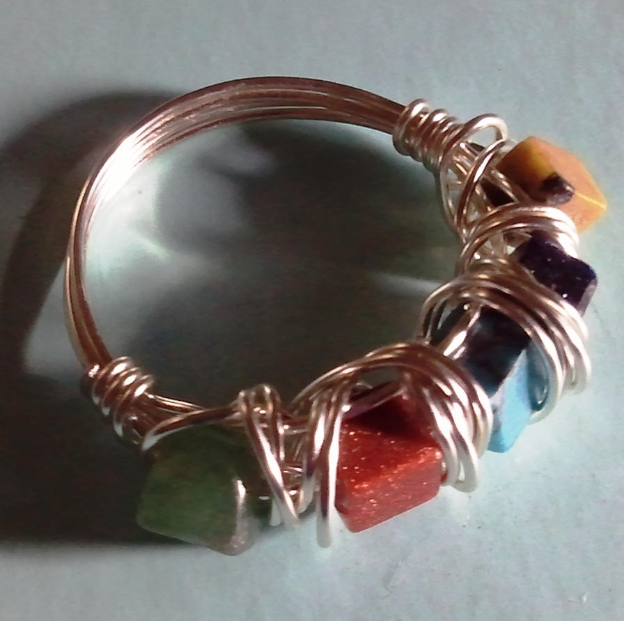 Wire Ring Beads: Wire Wrapped Multi Gemstone Beads Ring By NormasCreations
