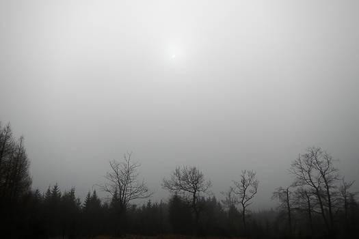 Solar eclipse behind fog