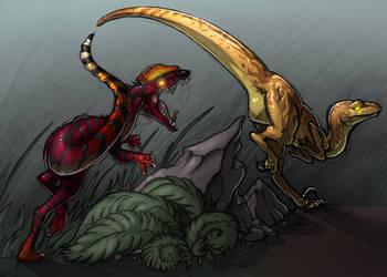 Dilo VS Raptor by Otterbird