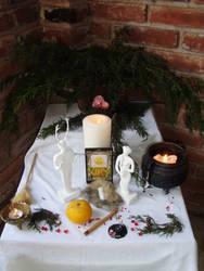 Ophelia's Yule altar 2012 by OpheliaRosenblut