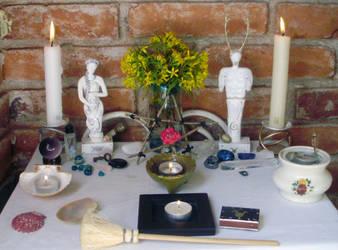 Ophelia's Ostara altar 2013 by OpheliaRosenblut