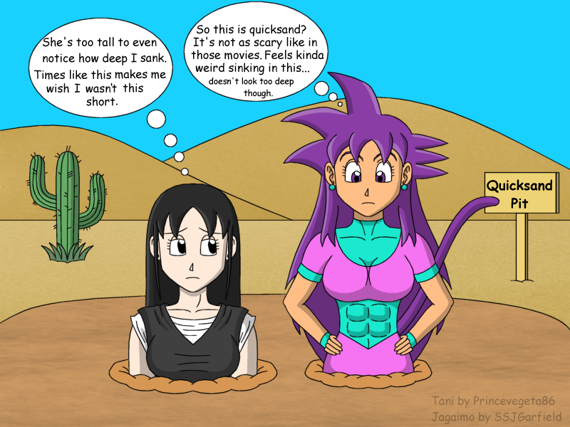 Tani and Jagaimo in quicksand by princevegeta86