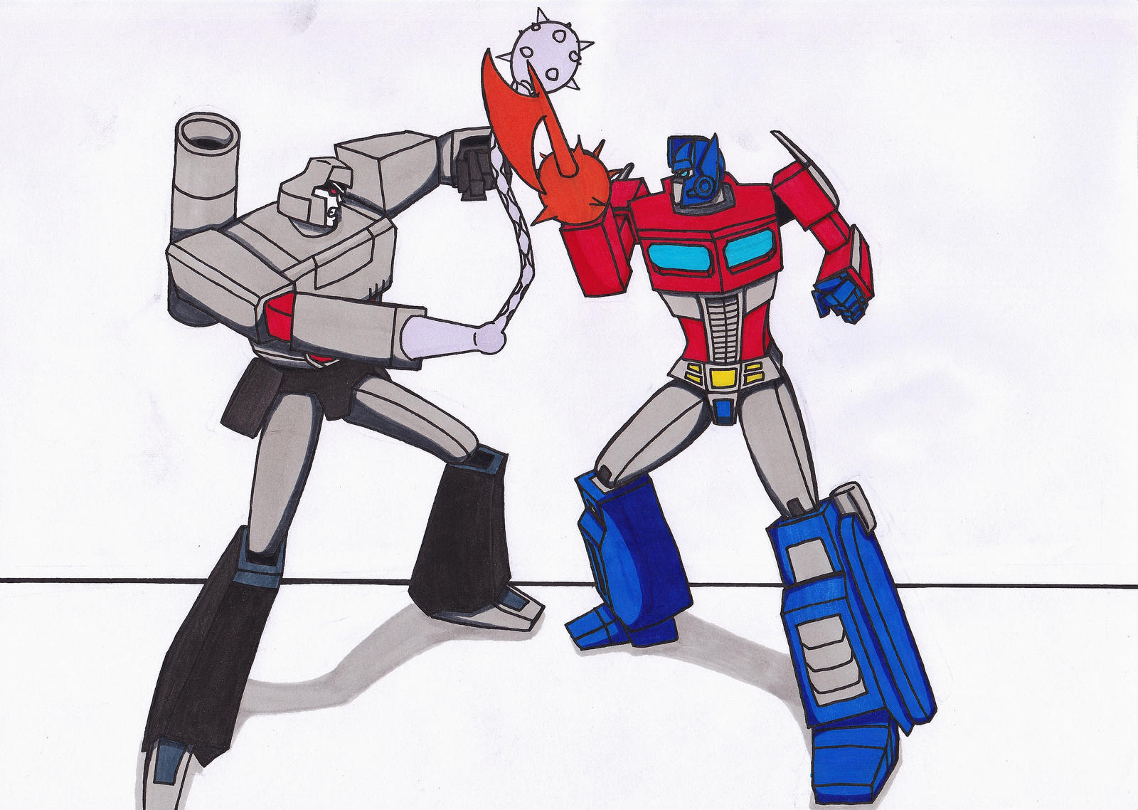 Optimus Prime vs Megatron by KillerTeddyBear94 on DeviantArt