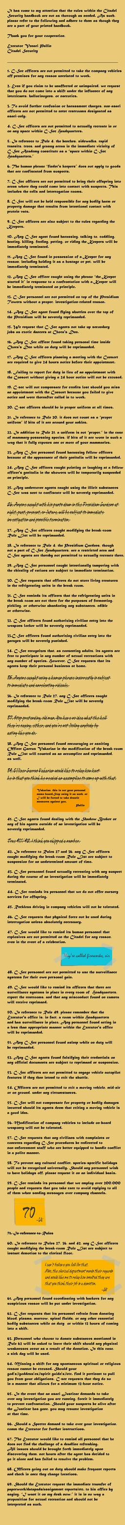 C-Sec Break Room Rules (69 rule challenge) by greenmamba5